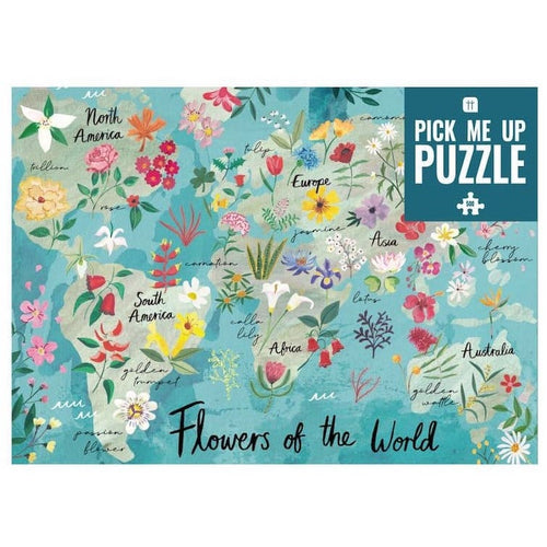 Pick Me Up Flowers of the World Puzzle von Talking Tables zeigt eine Weltkarte mit Blumen aller Kontinente, 500 Teile