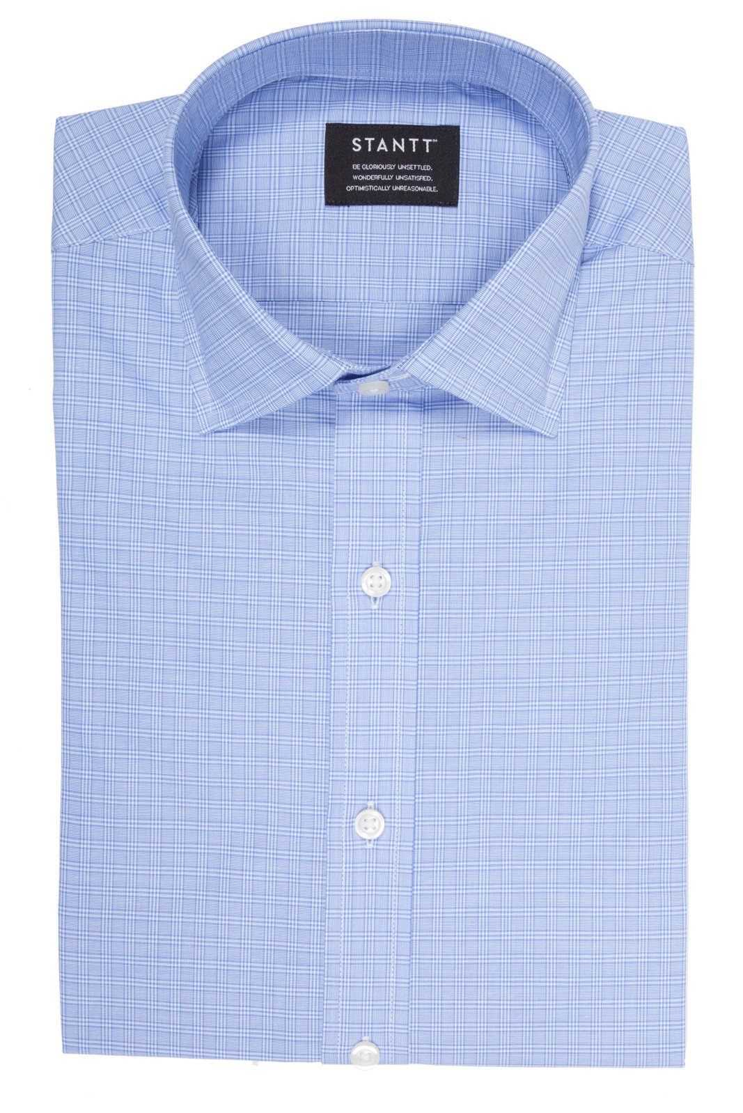Light Blue Mini Raker Check: Modified-Spread Collar, Barrel Cuff