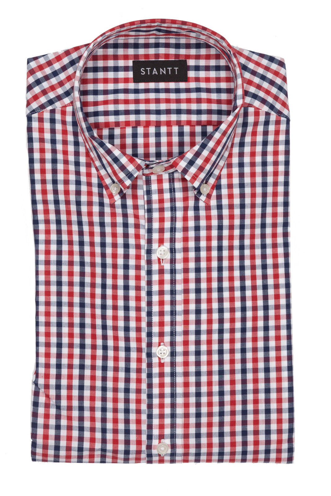 Cardinal Red and Navy Gingham: Modified-Spread Collar, Barrel Cuff