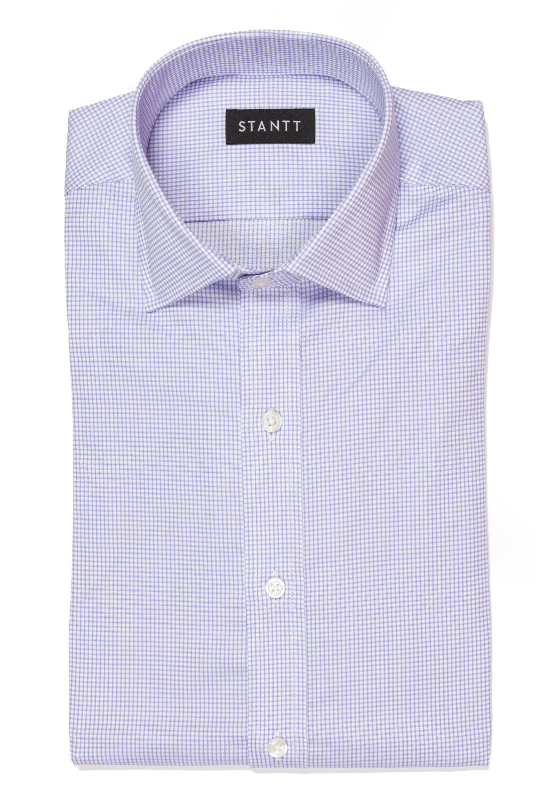 Wrinkle-Resistant Purple Accented Mini-Check: Modified-Spread Collar, French Cuff