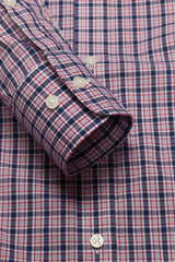 Cardinal Red and Navy Multi Check: Semi-Spread Collar, Barrel Cuff