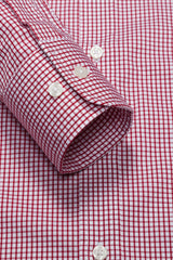 Burgundy Grid Check: Modified-Spread Collar, Barrel Cuff