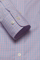 Wrinkle-Resistant Light Blue and Pink Bordered Tattersall: Semi-Spread Collar, Barrel Cuff