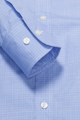 Light Blue Mini Raker Check: Button-Down Collar, Barrel Cuff