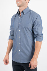 Slate Diamond Dot: Button-Down Collar, Long Sleeve