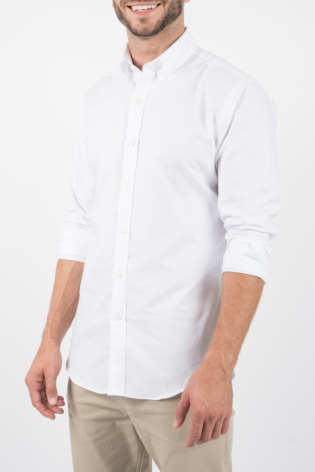 White Oxford: Semi-Spread Collar, Long Sleeve