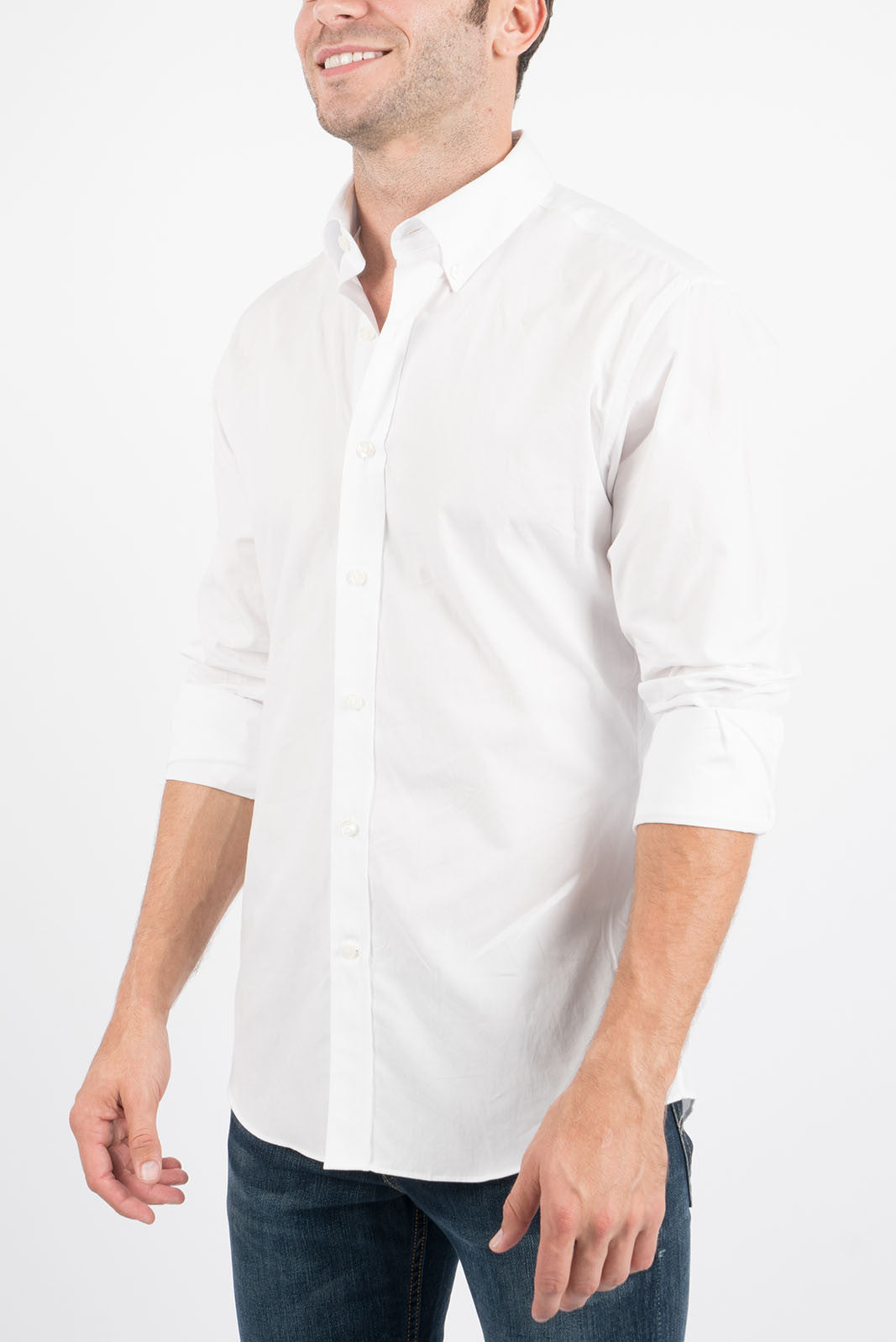 Washed White: Semi-Spread Collar, Long Sleeve