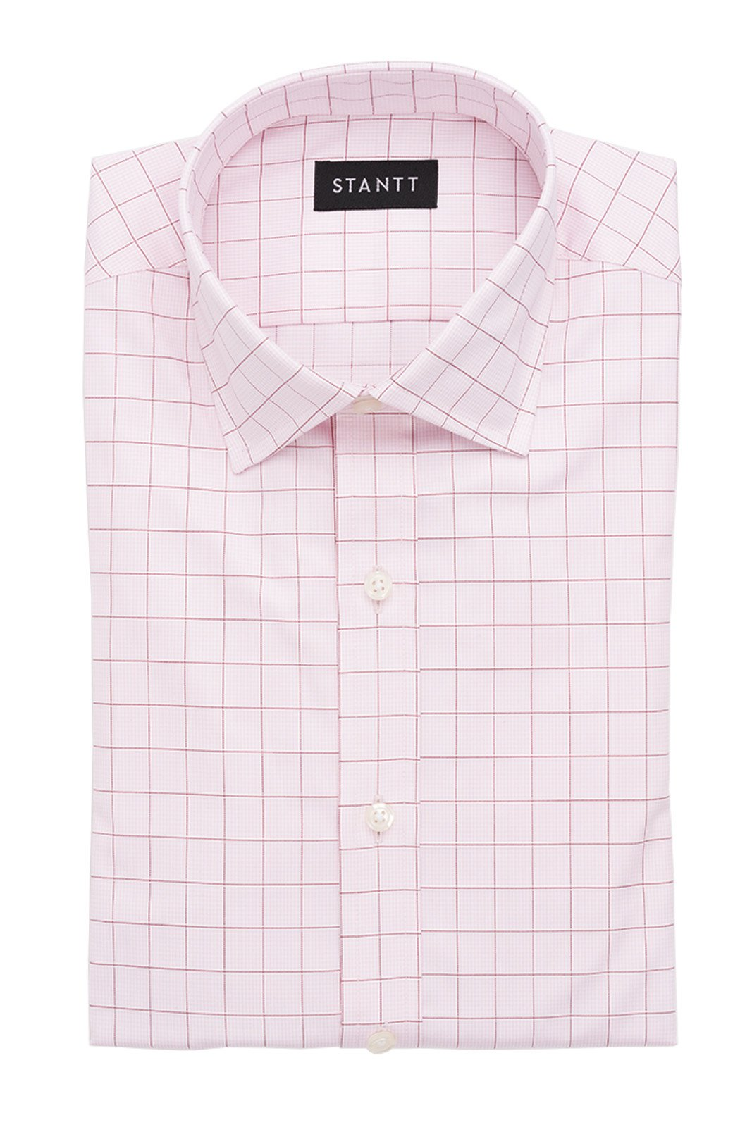 Light Pink Prince of Wales Check: Modified-Spread Collar, Barrel Cuff