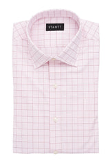 Light Pink Prince of Wales Check: Modified-Spread Collar, French Cuff