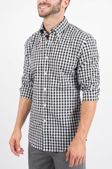 Black Gingham: Button-Down Collar, Short Sleeve
