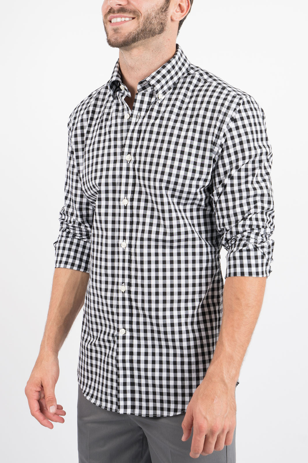 Black Gingham: Semi-Spread Collar, Barrel Cuff