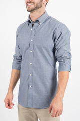 Blue Chambray: Semi-Spread Collar, Long Sleeve