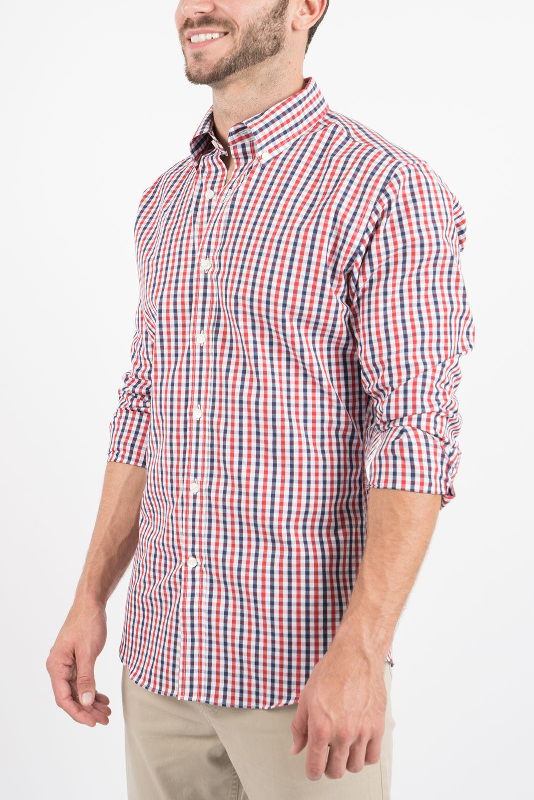 Cardinal Red and Navy Gingham: Button-Down Collar, Long Sleeve