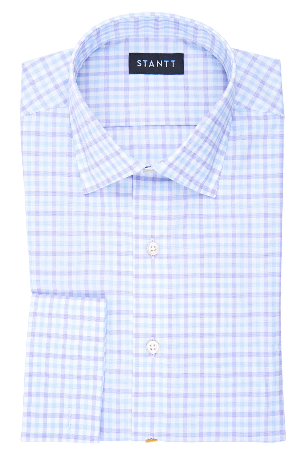 Wrinkle-Resistant Purple Cross Weave Tattersall: Modified-Spread Collar, French Cuff