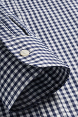 Navy Gingham: Button-Down Collar, Barrel Cuff
