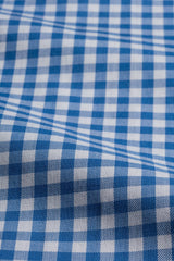Blue Gingham: Button-Down Collar, Barrel Cuff