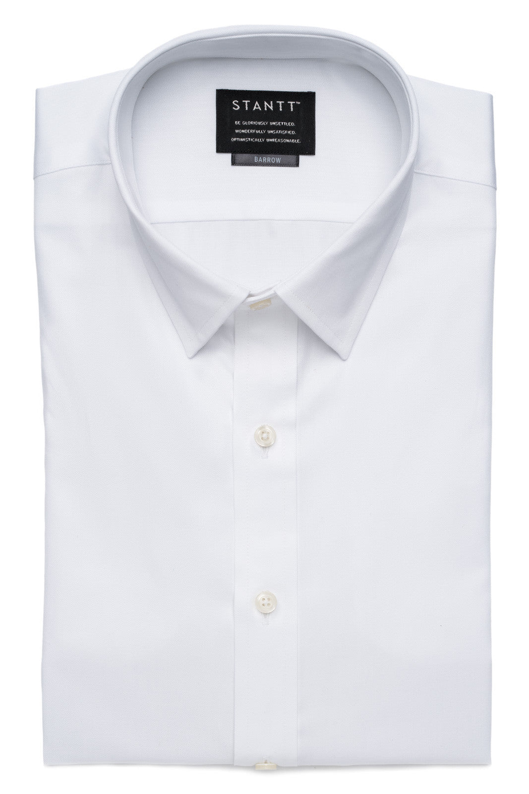 Fine White Twill: Modified Spread Collar, Barrel Cuff