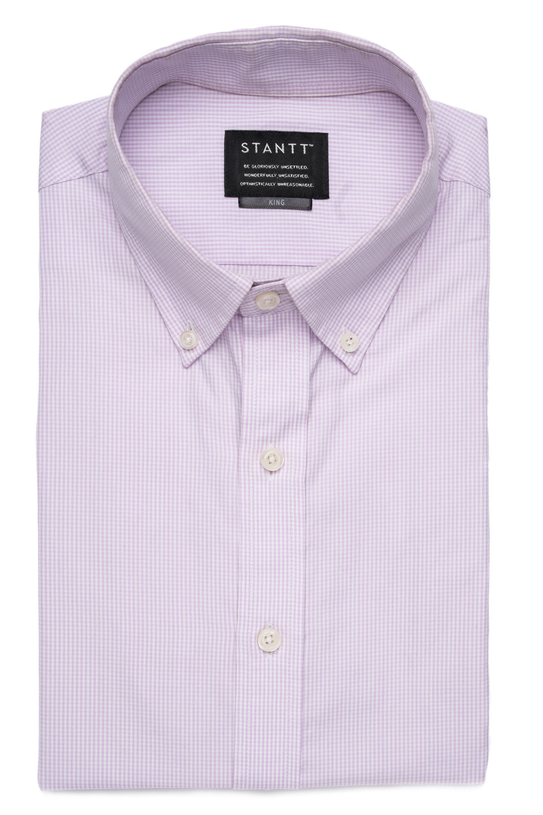 Lavender Micro Check: Button-Down Collar, Barrel Cuff