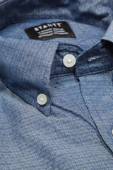 Slate Diamond Dot: Button-Down Collar, Short Sleeve