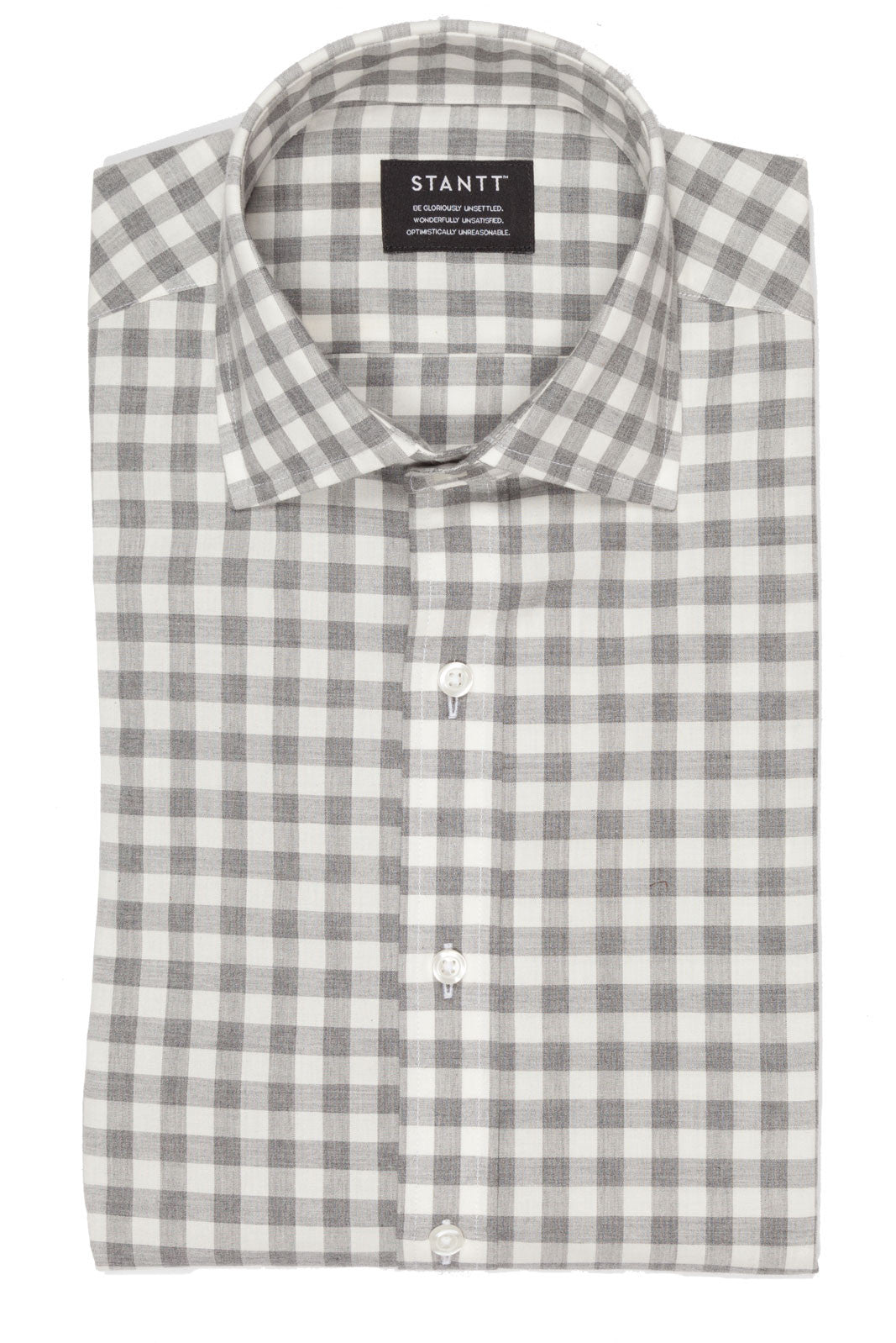 Grey Heather Gingham: Semi-Spread Collar, French Cuff