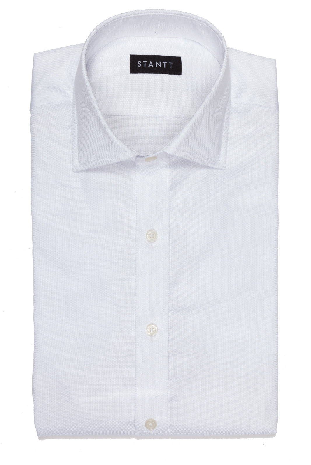 White Royal Oxford: Modified-Spread Collar, Barrel Cuff