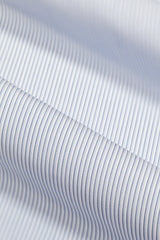Wrinkle-Resistant Blue Tonal Dress Stripe: Semi-Spread Collar, Barrel Cuff