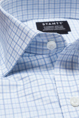Light Blue Tattersall: Modified Spread Collar, French Cuff