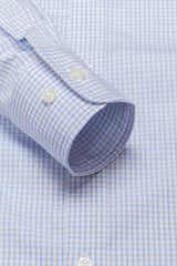 Wrinkle-Resistant Light Blue and Brown Bordered Tattersall: Semi-Spread Collar, Barrel Cuff