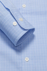 Light Blue Mini Prince of Wales Check: Modified-Spread Collar, Barrel Cuff
