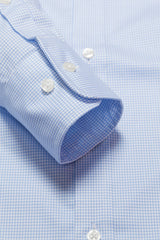 Wrinkle-Resistant Light Blue Accented Mini-Check: Button-Down Collar, Barrel Cuff