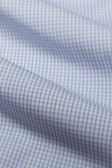 Wrinkle-Resistant Light Blue and Brown Bordered Tattersall: Semi-Spread Collar, French Cuff