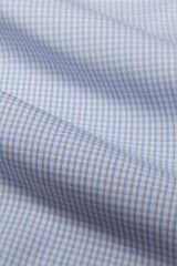 Wrinkle-Resistant Light Blue and Brown Bordered Tattersall