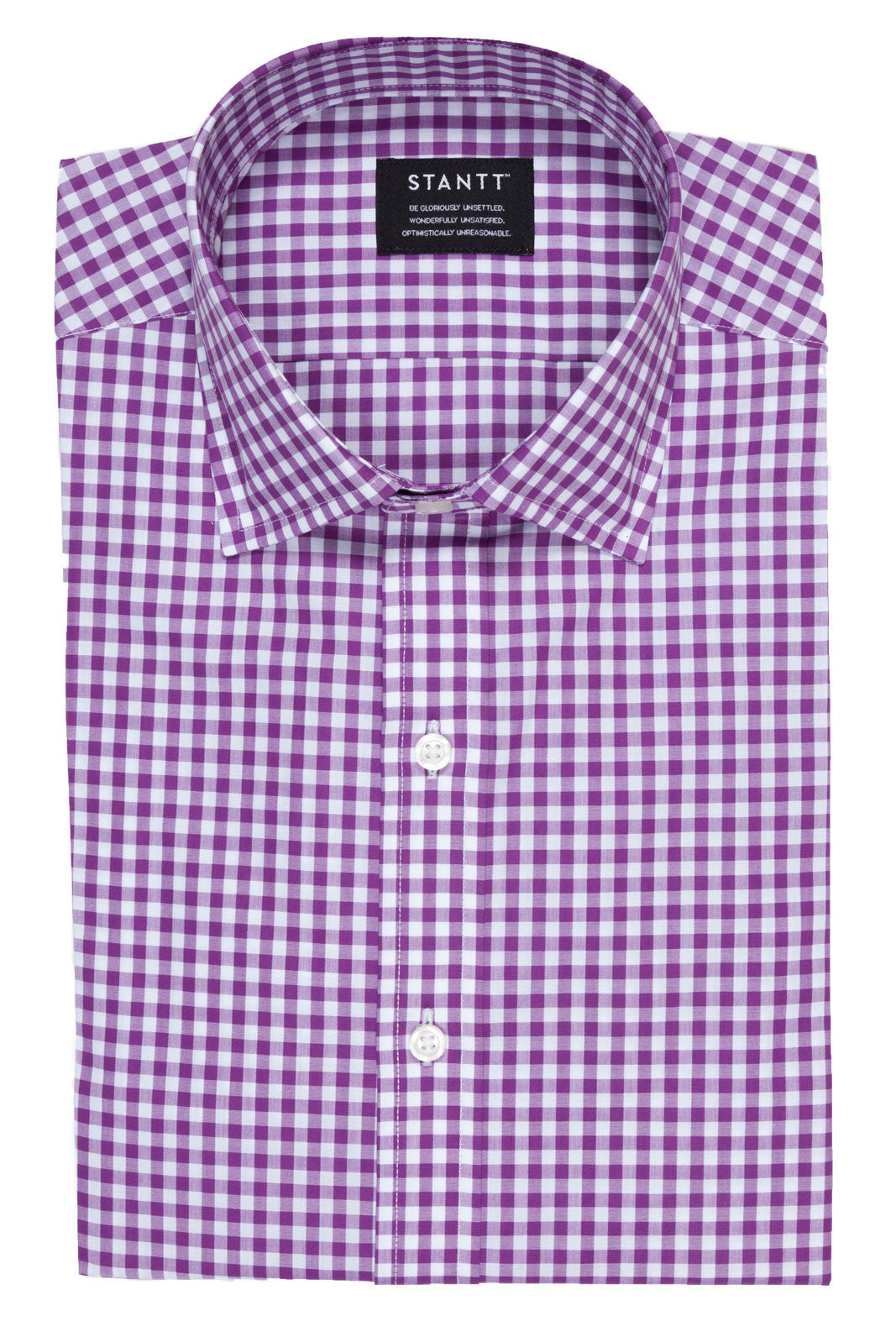 Purple Gingham: Button-Down Collar, Barrel Cuff