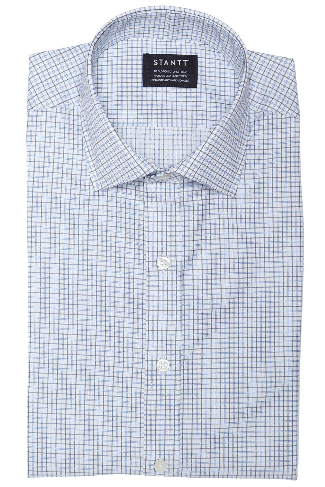 Grey and Light Blue Tattersall: Semi-Spread Collar, Barrel Cuff