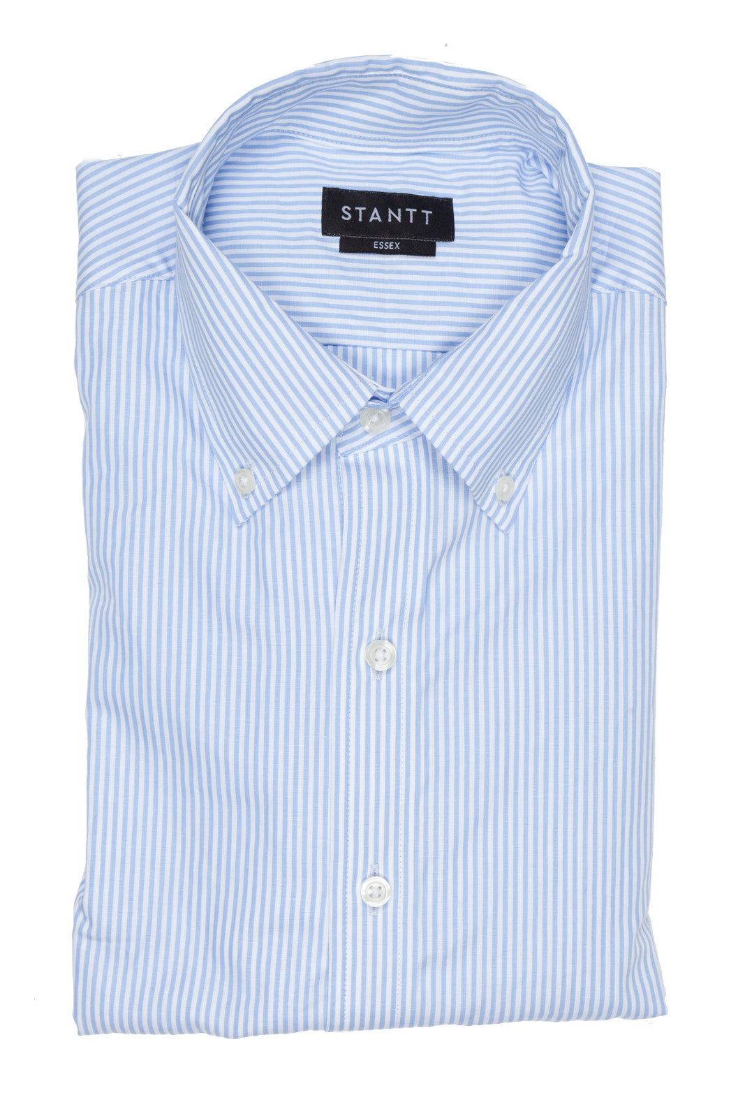 Light Blue University Stripe: Semi-Spread Collar, French Cuff