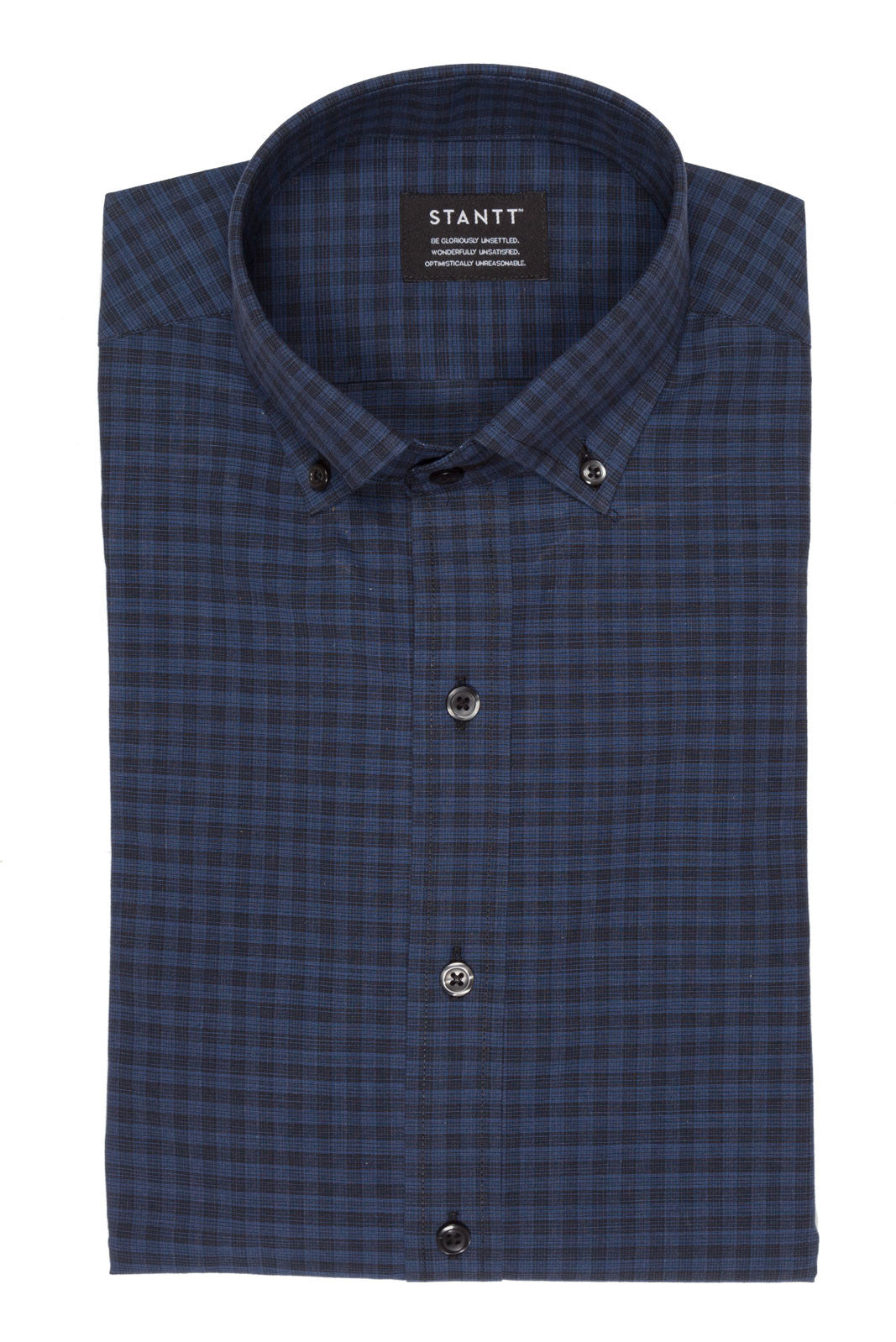 Midnight Blue Graph Check: Semi-Spread Collar, French Cuff