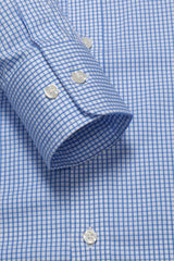 Cobalt Blue Grid Check: Button-Down Collar, Barrel Cuff