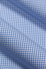 Cobalt Blue Grid Check: Modified-Spread Collar, Barrel Cuff