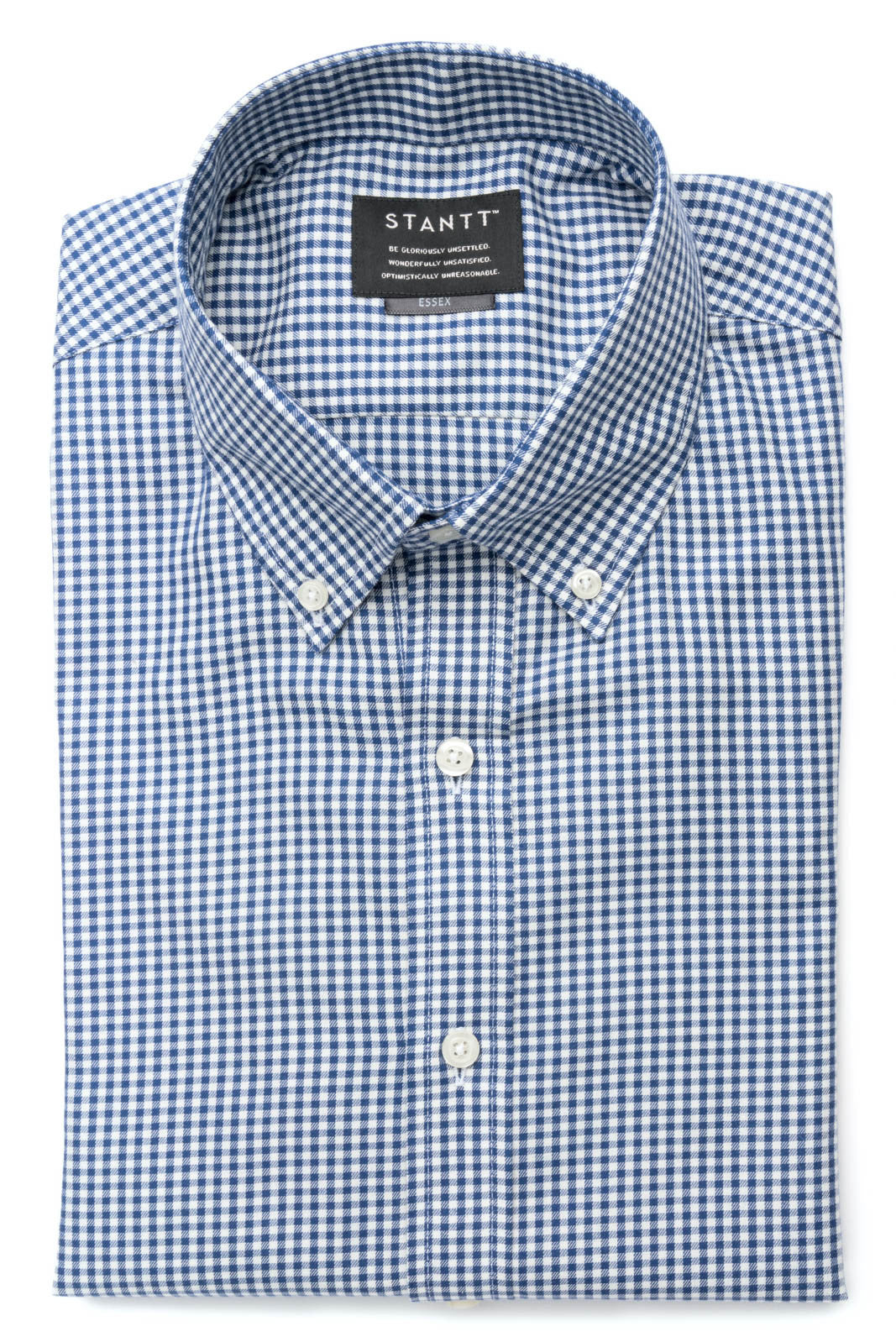 Navy Mini Gingham: Semi-Spread Collar, Barrel Cuff