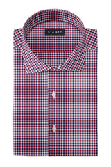 Red and Navy Club Check Oxford: Cutaway Collar, French Cuff