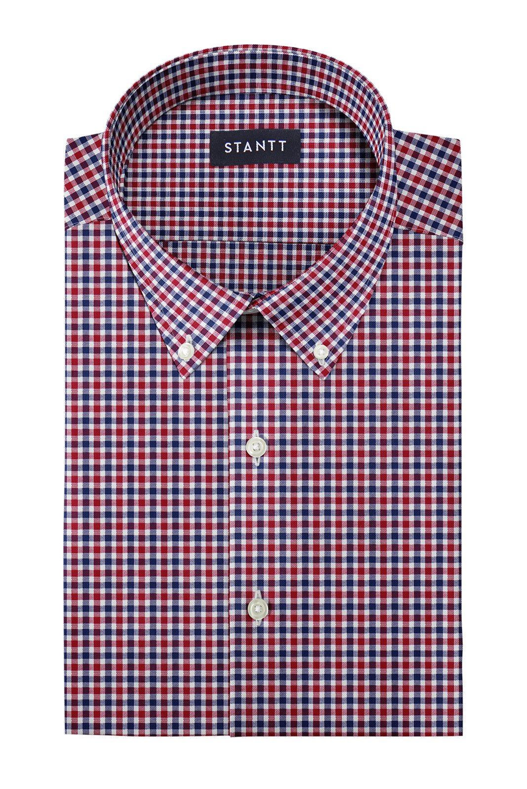 Red and Navy Club Check Oxford: Button-Down Collar, Barrel Cuff