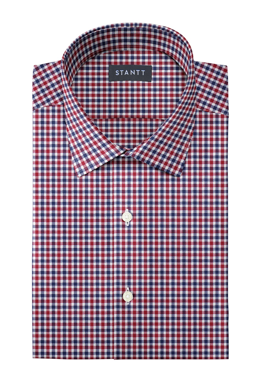 Red and Navy Club Check Oxford: Modified-Spread Collar, French Cuff