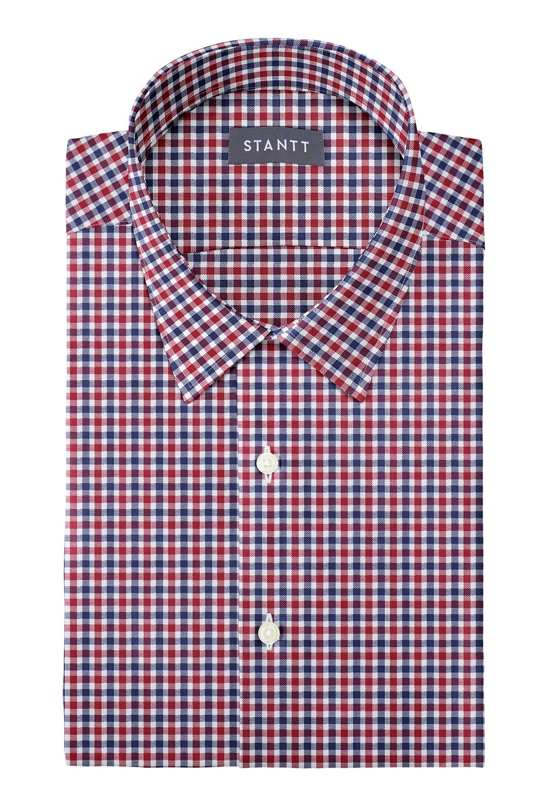 Red and Navy Club Check Oxford: Semi-Spread Collar, French Cuff