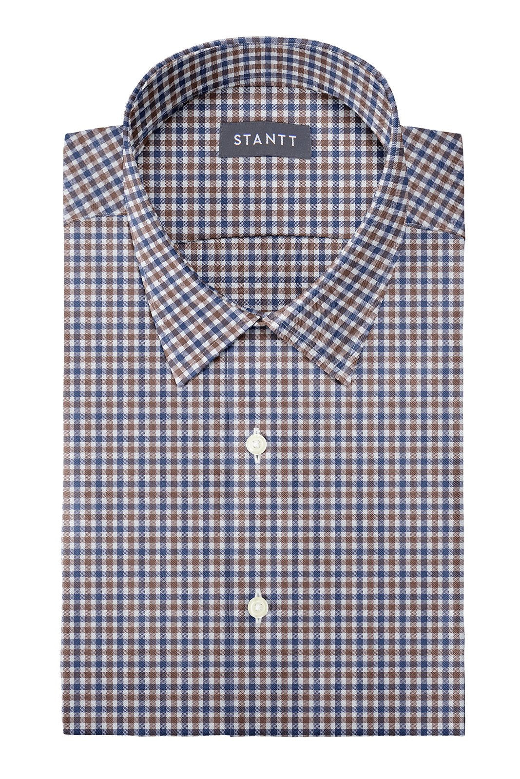 Brown and Navy Club Check Oxford: Semi-Spread Collar, French Cuff
