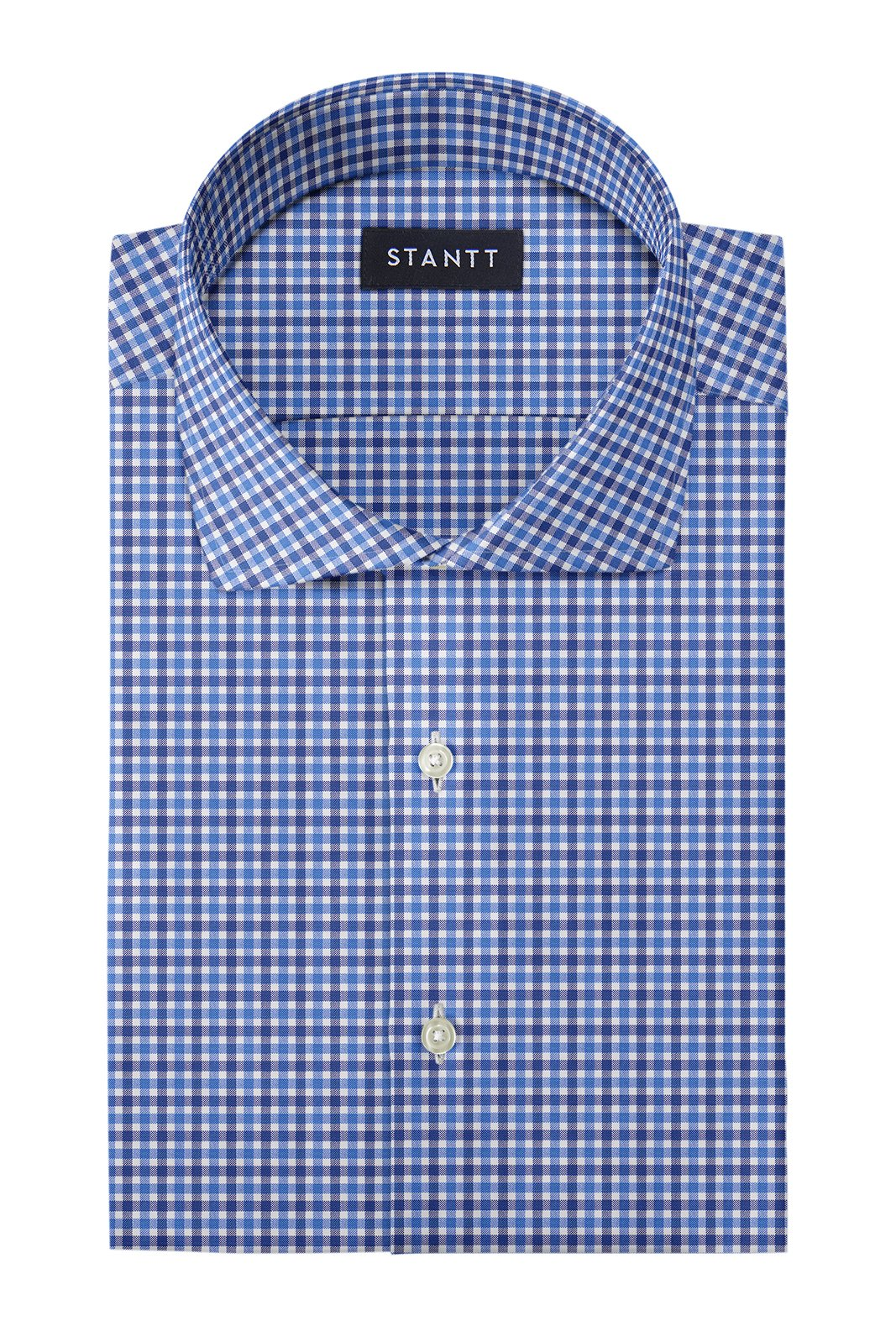 Blue and Navy Club Check Oxford: Cutaway Collar, Barrel Cuff