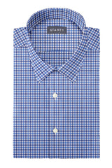 Blue and Navy Club Check Oxford: Semi-Spread Collar, French Cuff