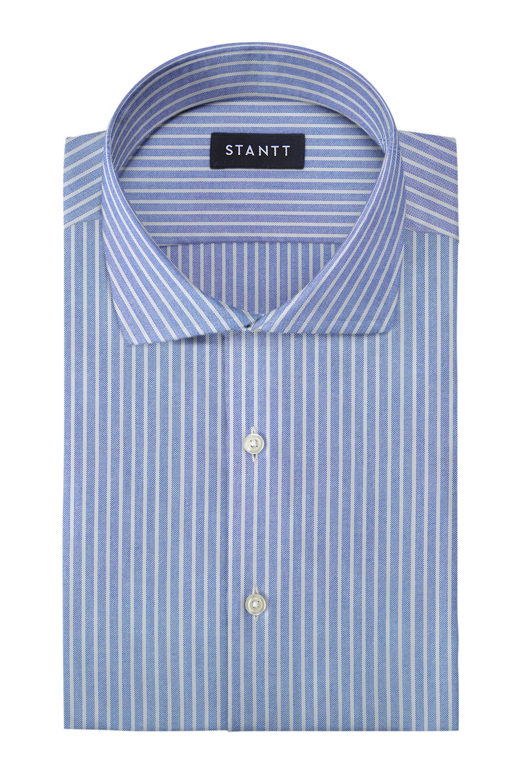 Reverse Blue Oxford Stripe: Cutaway Collar, Barrel Cuff