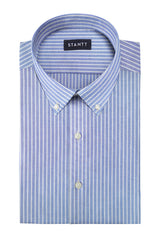 Reverse Blue Oxford Stripe: Button-Down Collar, Barrel Cuff