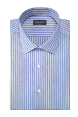 Reverse Blue Oxford Stripe: Modified-Spread Collar, French Cuff