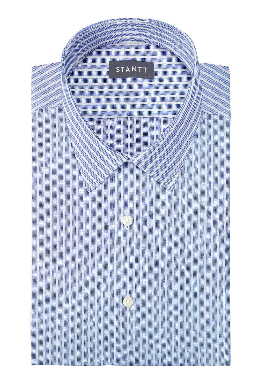 Reverse Blue Oxford Stripe: Semi-Spread Collar, Barrel Cuff